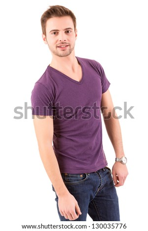 Studio picture of a young and handsome man posing isolated - stock photo
