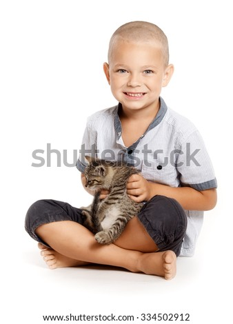 studio portrait boy and kitten