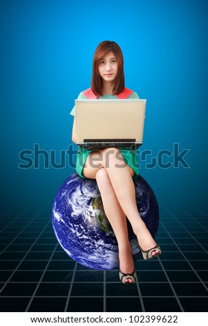 Studio portrait lady on Globe : Elements of this image furnished by NASA