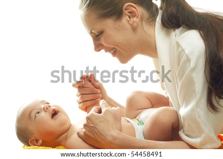 Studio portrait mum and child against white background