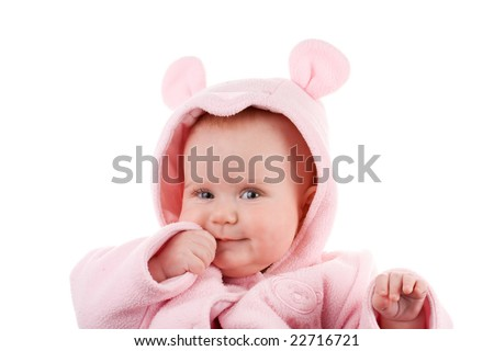 Studio Portrait of a Baby Girl Wearing a Pink Snowsuit