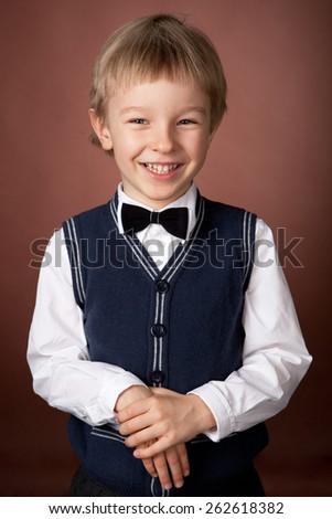 studio portrait of a boy's birthday - stock photo