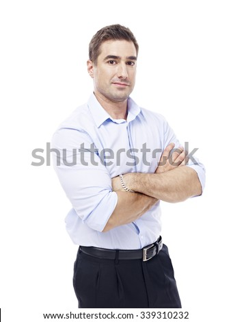 studio portrait of a caucasian corporate executive, arms crossed, side view, isolated on white background. - stock photo