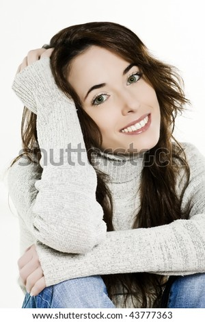 studio portrait of a expressive caucasian beautiful charming woman on white background - stock photo