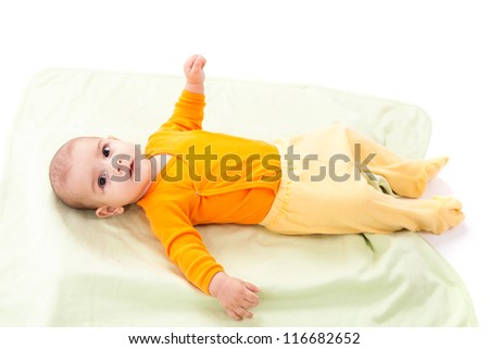 Studio portrait of a newborn caucasian boy - stock photo
