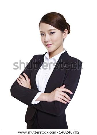 studio portrait of an asian business executive - stock photo