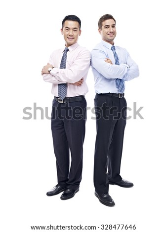 studio portrait of asian and caucasian businessmen, arms crossed, looking at camera smiling, isolated on white background. - stock photo