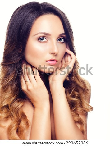 Studio Portrait of Beautiful Model with Long Curly Ombre Hair. Close Up - stock photo