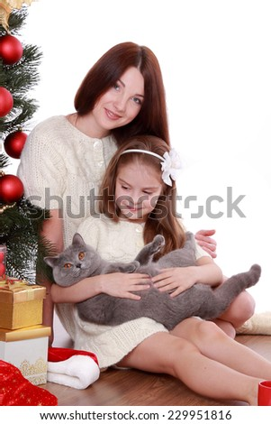 Studio portrait of beautiful mother and daughter holding gray British cat over Christmas tree on Holiday theme/Mother and daughter having fun with lovely and funny domestic cat on Christmas - stock photo
