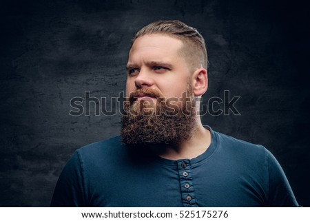 Studio portrait of brutal bearded male on grey vignette background.