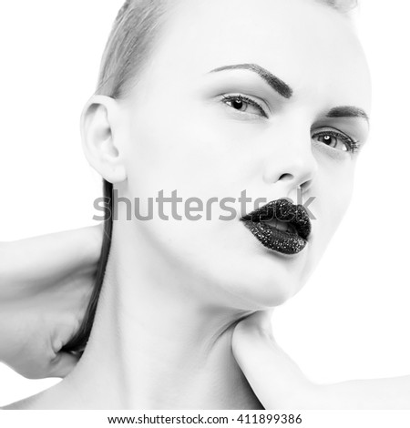 Studio portrait of female caucasian young blonde model with black lipstick. Isolated on white background. Studio portrait. Black and white