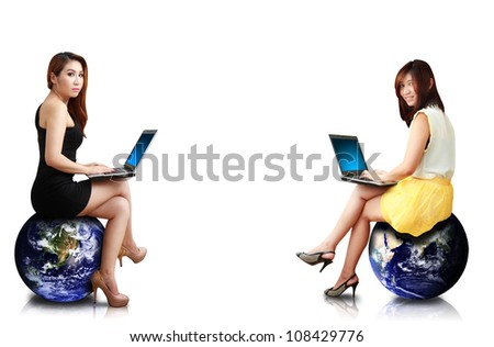 Studio portrait of two lady : Elements of this image furnished by NASA - stock photo