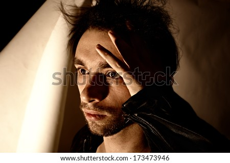Studio portrait of young beautiful unshaven men closeup - stock photo