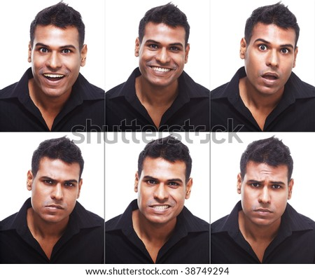 Studio portrait of young, handsome businessman showing different expressions ranging from happy, sad, angry, disgust and surprise - stock photo