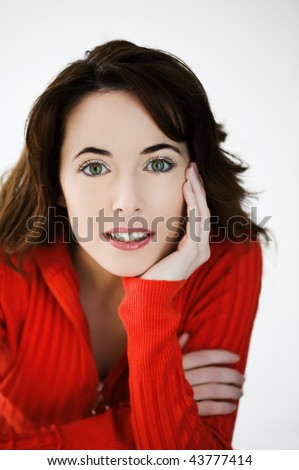 studio portrait on isolated background of a beautiful  caucasian expressive woman - stock photo