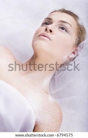 studio portret of pretty blondy girl - stock photo