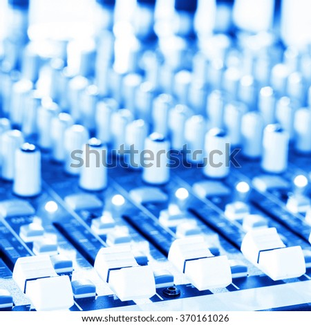 Studio radio mixing. Audio music mixer. Digital sound equipment. Professional equalizer for concert mix, volume control, electronic instrument. Broadcast switch. Record technology.  - stock photo