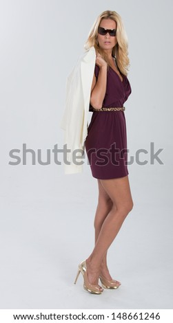 Studio shoot of woman white background