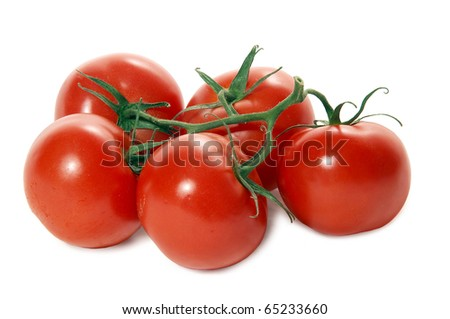 Studio shooting of tomatoes grape isolated on white with shadow. - stock photo