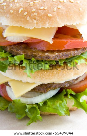 Studio shot from a big tasty hamburger