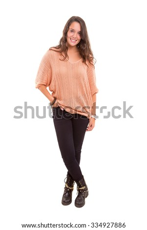 Studio shot of a beautiful young casual woman - stock photo