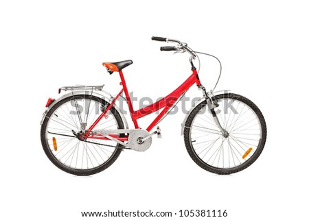 Studio shot of a bicycle isolated against white background - stock photo