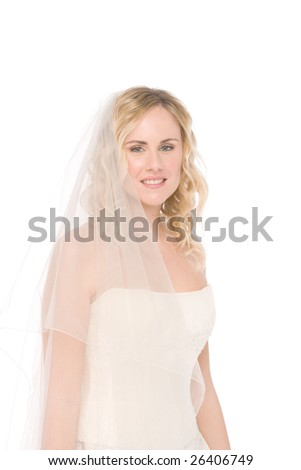 studio shot of a bride isolated on white background - stock photo