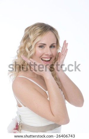 studio shot of a bride isolated on white background,with surprised facial expression - stock photo