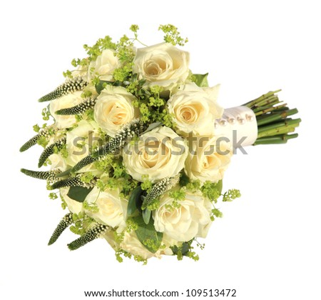 Studio shot of a bride's rose wedding bouquet - stock photo
