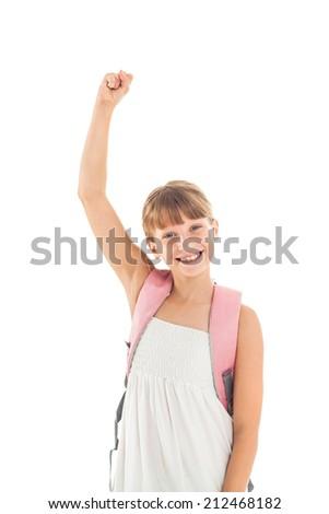 Studio shot of a happy schoolgirl. - stock photo