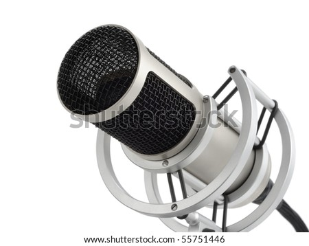 Studio shot of a professional microphone on pure white background - stock photo