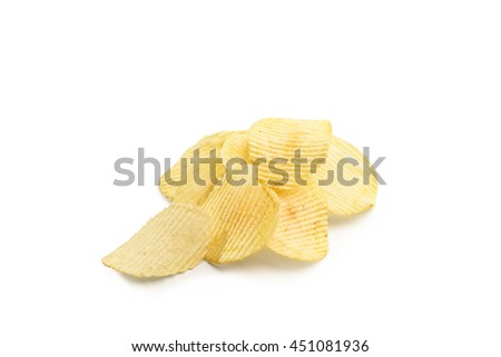 Studio shot of a stack of potato chips isolated on white background