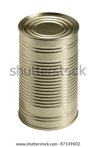 studio shot of a tin can isolated with clipping path - stock photo