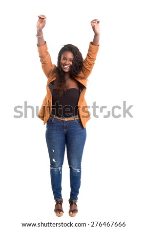 Studio shot of a Very Happy african woman - stock photo