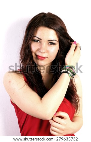 Studio shot of a young lady on white background