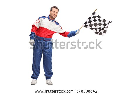 Studio shot of a young male car racer waving a checkered race flag isolated on white background - stock photo