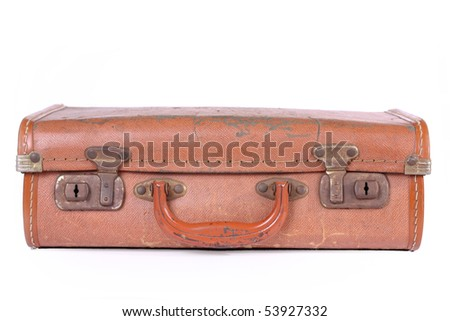 studio shot of an old suitcase, isolated on white background