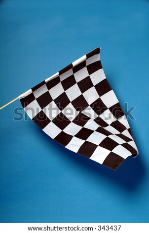 Studio shot of chequered flag