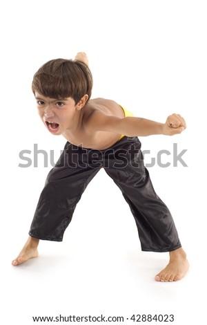 Studio Shot of Child in Martial Arts. - stock photo