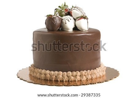 Studio shot of chocolate cake with strawberries on white background - stock photo