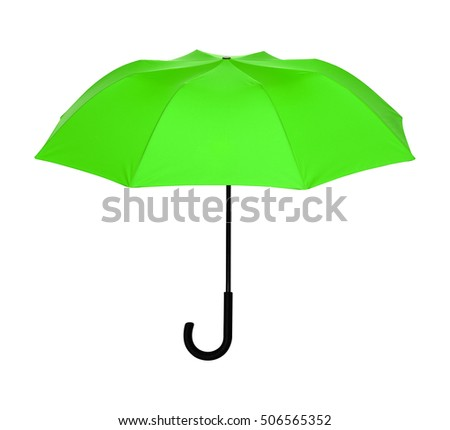 Studio Shot of Classic Green Umbrella Isolated on White