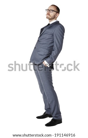 Studio shot of cocky businessman. Isolated on white. Copy space.  - stock photo