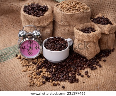 Studio Shot of Coffee Beans in a Bag  - stock photo