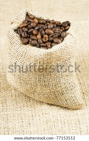 Studio Shot of Coffee Beans in a Bag.