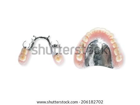 Studio shot of dentures - stock photo