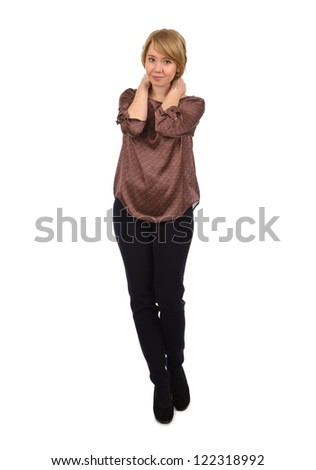 Studio shot of friendly casual woman isolated on white - stock photo