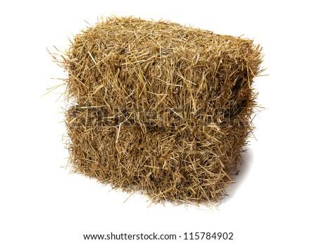 Studio shot of hay, isolated on white. - stock photo