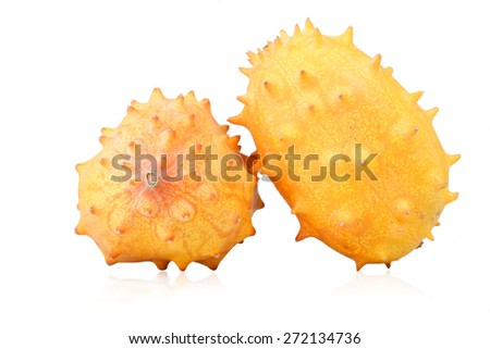 Studio shot of kiwano on white background - stock photo