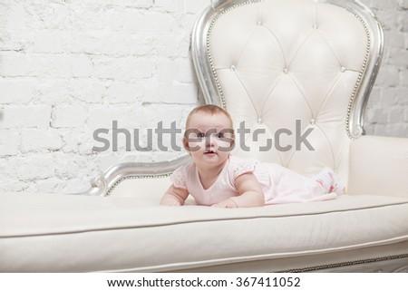 Studio shot of little adorable child - stock photo