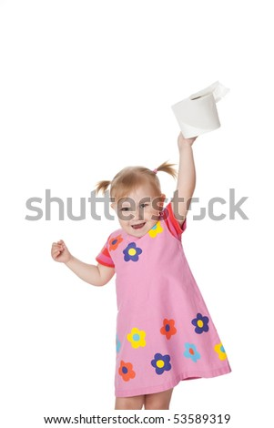 studio shot of little girl with toilet paper - stock photo